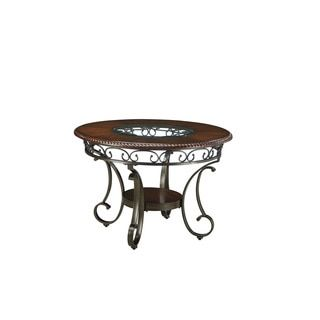 Shop for Signature Design by Ashley Glambrey Brown Round Dining Room Table with Glass Insert. Get free shipping at Overstock.com - Your Online Furniture Outlet Store! Get 5% in rewards with Club O! - 17800826