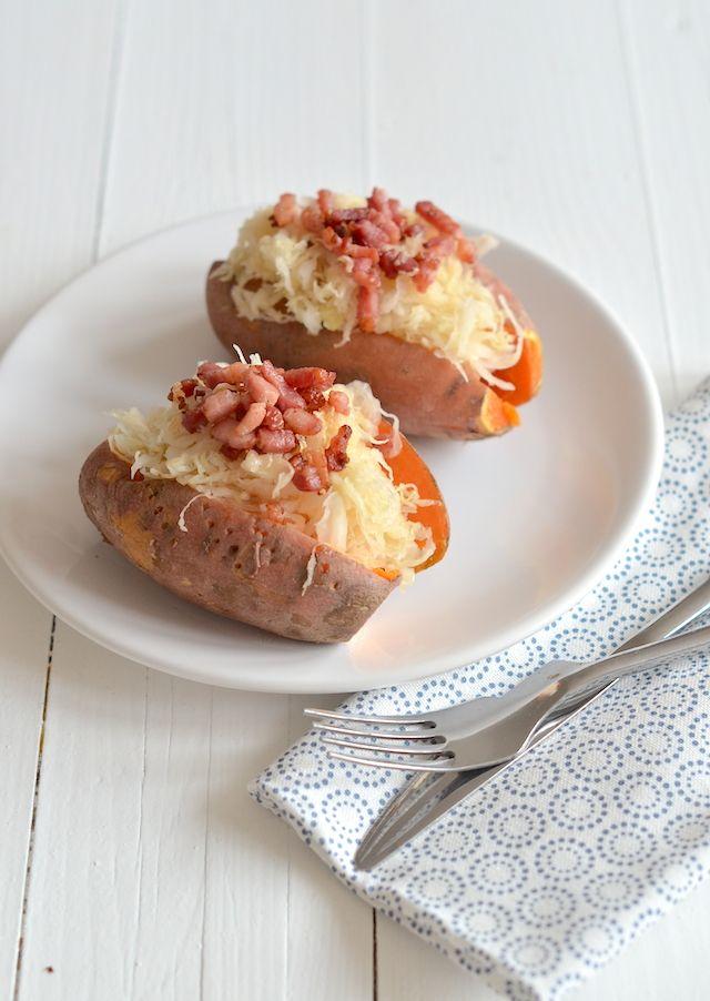 Uit Pauline's Keuken: gepofte zoete aardappel met zuurkool