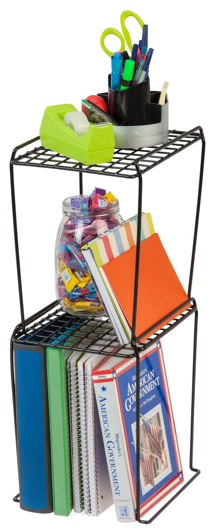 Features: -Fits in standard locker size. -Stackable for multiple shelving storage. -Great for managing locker space at school, work or the gym. -Extra tall to store binders and books. -Orientatio