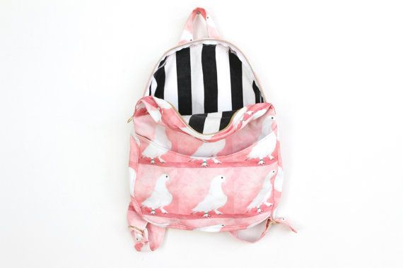 Pigeon Backpack, striped lining . Napkin