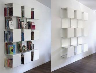 Amazing Square Bookshelves In Pure White : Modern Square Bookcase With  Clear White Color Design And Futuristic Style