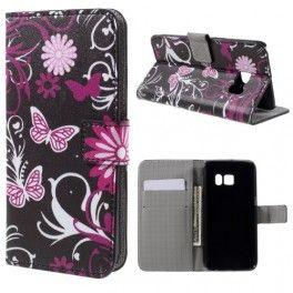 Samsung Galaxy S7 kukkia ja perhosia puhelinlompakko.