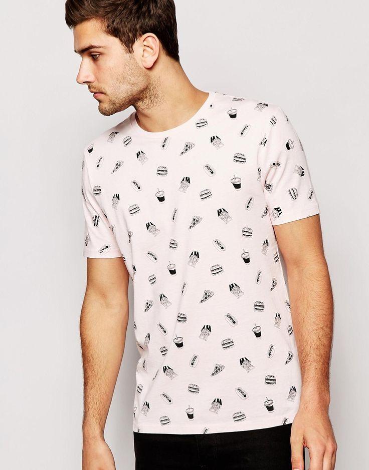 Imagen 1 de Camiseta de corte holgado con estampado de hamburguesas de ASOS