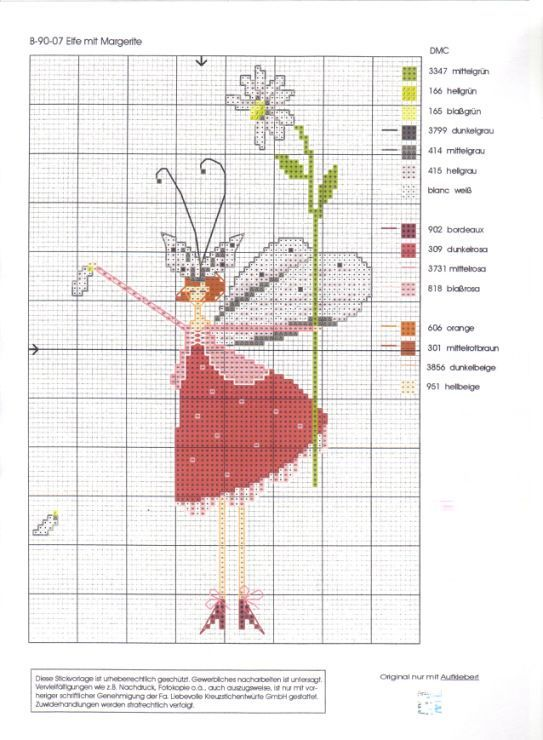 0 point de croix femme fée en rouge et fleur - cross stitch fairy lady in red with flower