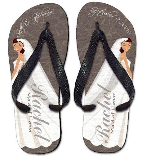 Beach/Nautical/Cruise Wedding or Honeymoon thongs - Elegant Bride Flip Flops - Personalized Flip Flops by Simply Sublime - multiple sizes.
