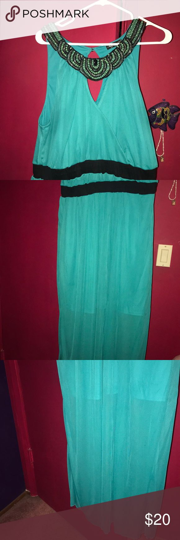 Maxi Dress with Beading Teal Maxi Dress with a neck line beading Ruby Rox Dresses Maxi