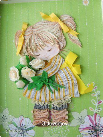Картина панно рисунок Открытка Квиллинг Девчушка Бумага фото 1