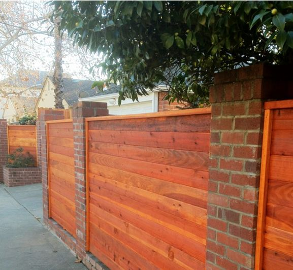 Brick and wood fencing | Backyard fences, Brick fence