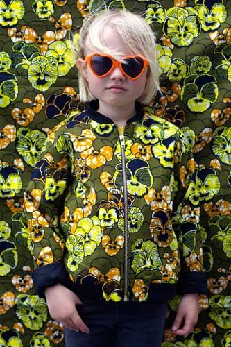 African wax print kids bomber jacket from Kwadusa, designed in Copenhagen, #madeinafrica #sunglasses