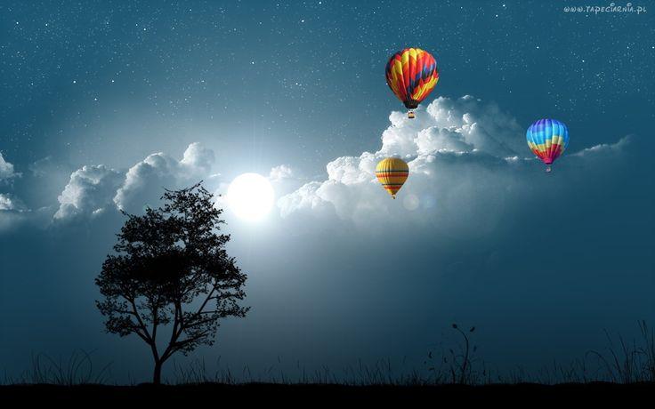 Drzewo, Chmury, Balony