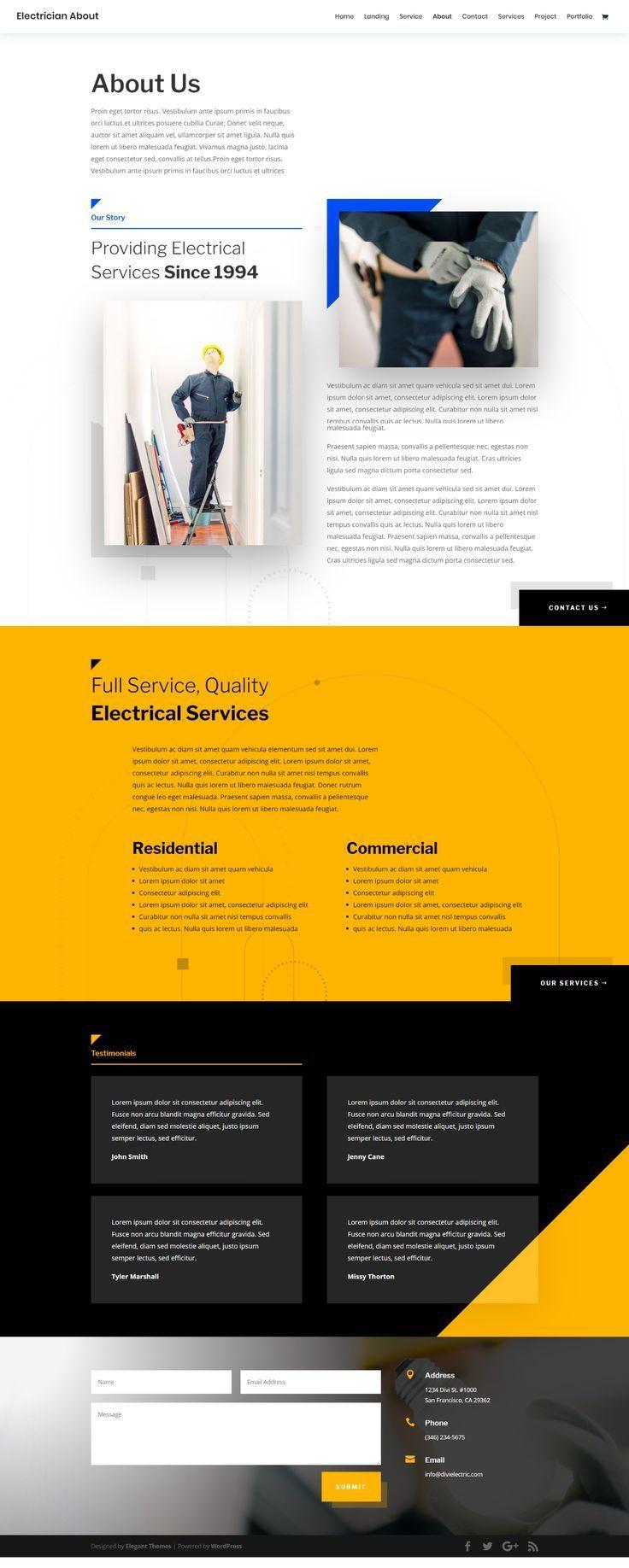 Electrician Landing Page Elegant Themes Web Design Business Web Design Web Design Inspiration