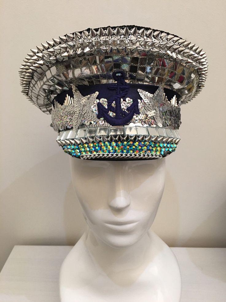 Love Khaos sequin sparkle captians hat, nautical sailing party cap, burning man, festival headdress unisex by LoveKhaos on Etsy https://www.etsy.com/listing/262936397/love-khaos-sequin-sparkle-captians-hat
