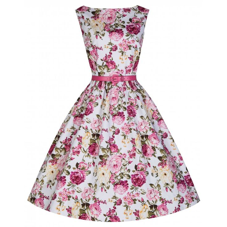 'Audrey' Iconic Vintage Style 50's Dress In Classic Pink Rose Print