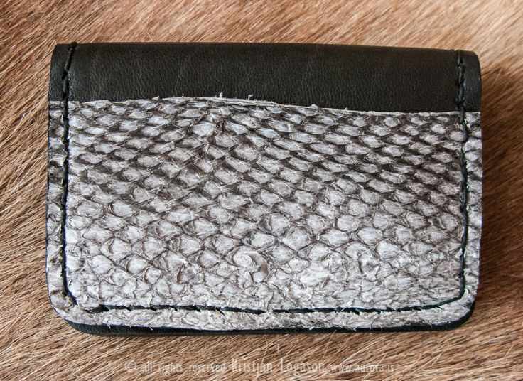 Fish and chip leather bifold card wallet for photographers with fish skin