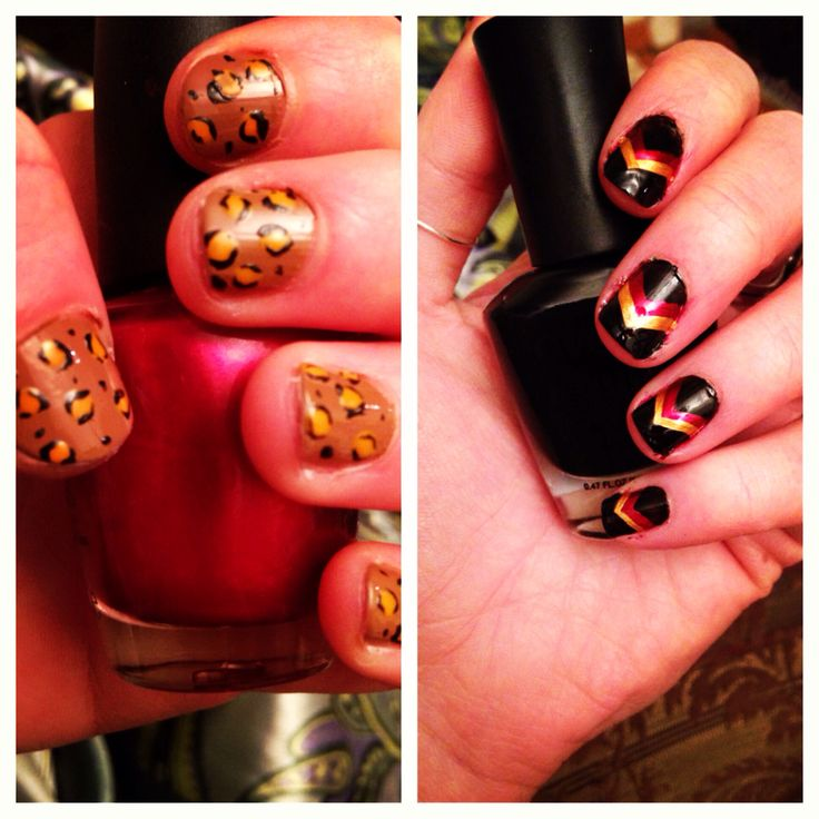 Cheetah for Jo and Niners stripes for me #nailart