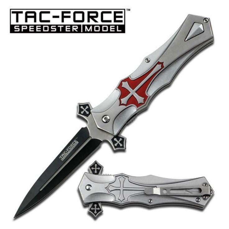 Tac Force - Couteau de poche pliant Catholique Christian Templier - Ouverture semi-automatique