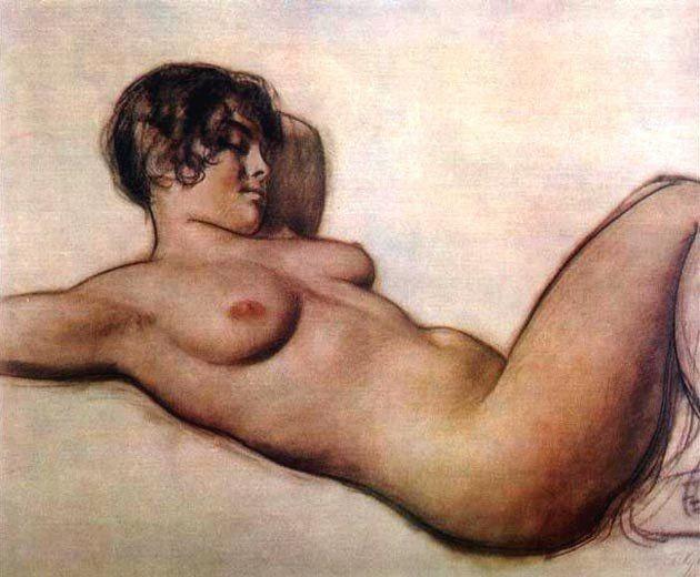 Кустодиев Б.М. Лежащая натурщица (1915)