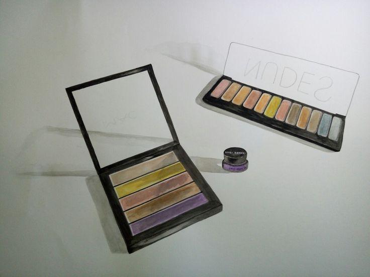 Watercolour drawing: eye shadow palettes