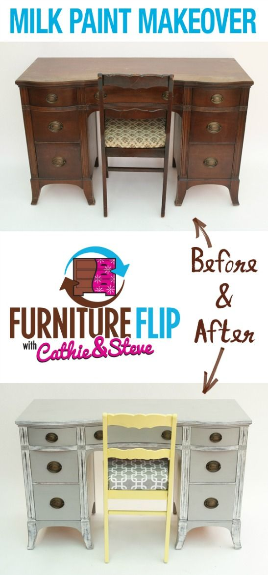 Have you heard of FolkArt's new pre-mixed Milk Paint? It brushes like a stain, but looks like a paint, which means its super easy to use it to give old furniture a colorful update! In this month's Furniture Flip, Cathie and Steve give an entire office space a vintage-inspired charm, by flipping and old desk-and-chair set and adding beautiful accent pieces to the wall!