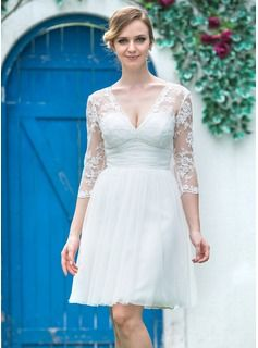 Wedding Dresses - $147.99 - A-Line/Princess V-neck Knee-Length Tulle Lace Wedding Dress With Ruffle Bow(s)  http://www.dressfirst.com/A-Line-Princess-V-Neck-Knee-Length-Tulle-Lace-Wedding-Dress-With-Ruffle-Bow-S-002042286-g42286