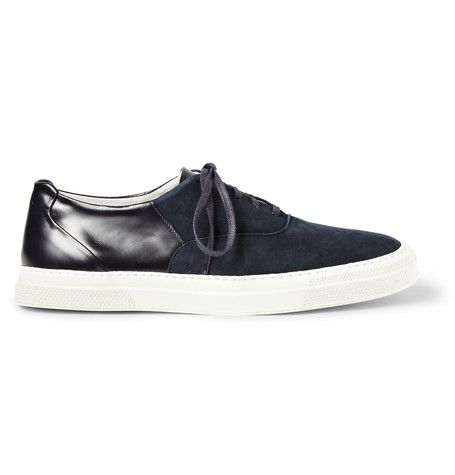 Folk Suede and Leather-Panelled Sneakers