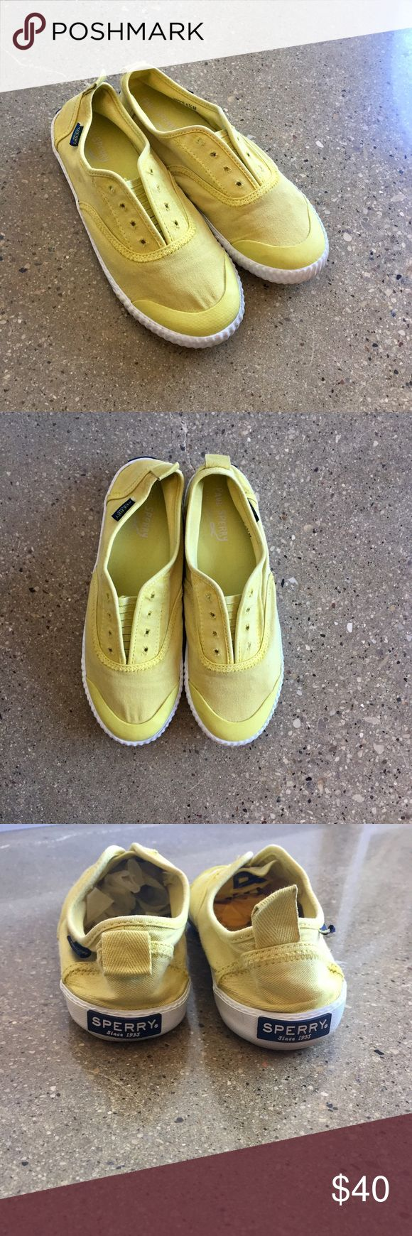 Sperry • Yellow Slip Ons New, only worn in my house. Elastic slip on style. Coordinating Racerback tank top (same color) also listed for sale in my closet! 🔺No PayPal, no trades, offers welcome via offer button only! Bundle to save. (Bin#6) Sperry Shoes Sneakers