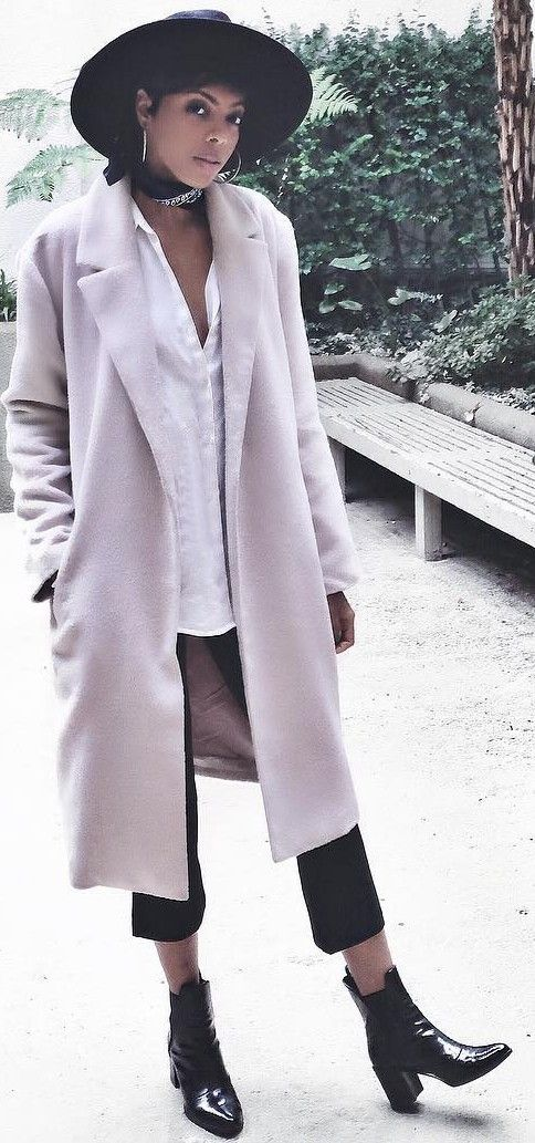 #fall #street #style   Pink Coat + Black and White
