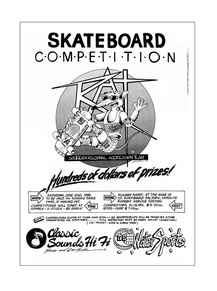How did I Know the exact date of these cool 'Old School' boarding pics?... that's easy.  I designed & produced the artwork for nearly all the early skate comp & demo posters in Hobart at the time. For all the Graphic Designers out there, this is a copy of my 'original' A3 fully hand drawn felt tip artwork done on ceramic bleedproof artboard, with Letraset % tint tonal-screen film hand cut & peeled for the logos background. Old School. 6.5.1988.