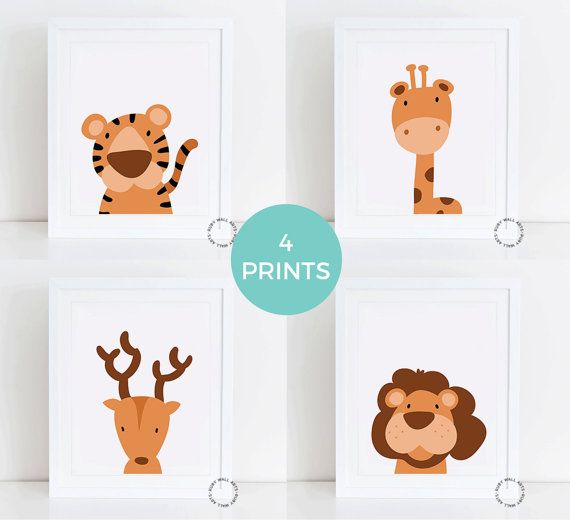 Jungle Animals Print, Printable, Nursery Decor, Nursery Art, Kids Room, lion, tiger, deer, giraffe, safari animals, baby animals, cartoon