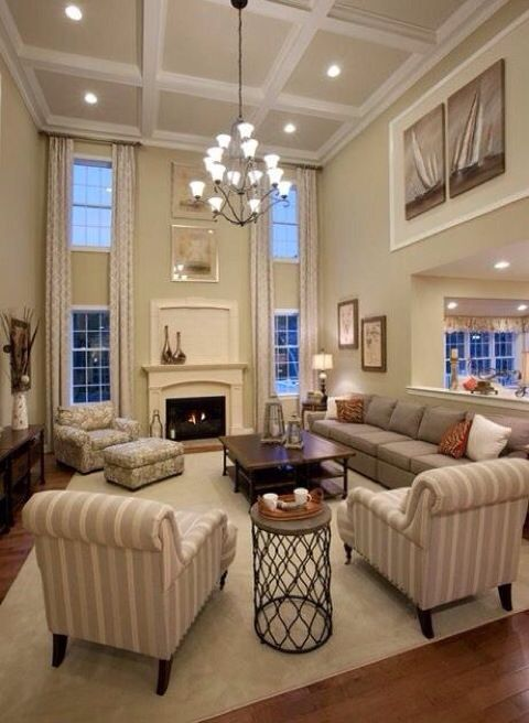High Ceilings With Coffers Bright And Welcoming I Like The Idea To Have A Family Room Off Kitchen Using Half Wall Divider