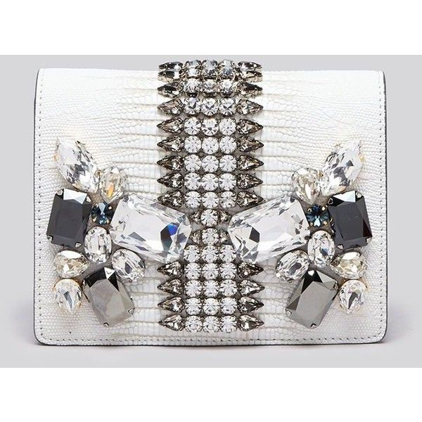 Mcm Clutch - Romantic Chandelier ($2,083) ❤ liked on Polyvore featuring bags, handbags, clutches, white, special occasion handbags, mcm handbags, white leather purse, real leather handbags and leather handbags