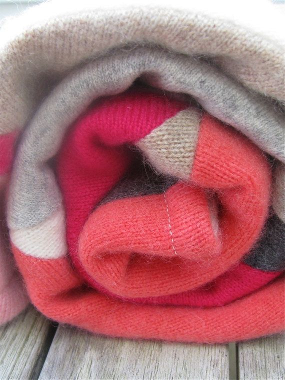 """House of Rowan cashmere blankets, voted """"BEST OF MAINE"""" in the July issue of Down East Magazine. Made from upcycled cashmere sweaters and ready to ship... Upcycled Cashmere Baby Blanket Triangle Quilt  by HouseOfRowan on Etsy,, $79.00"""