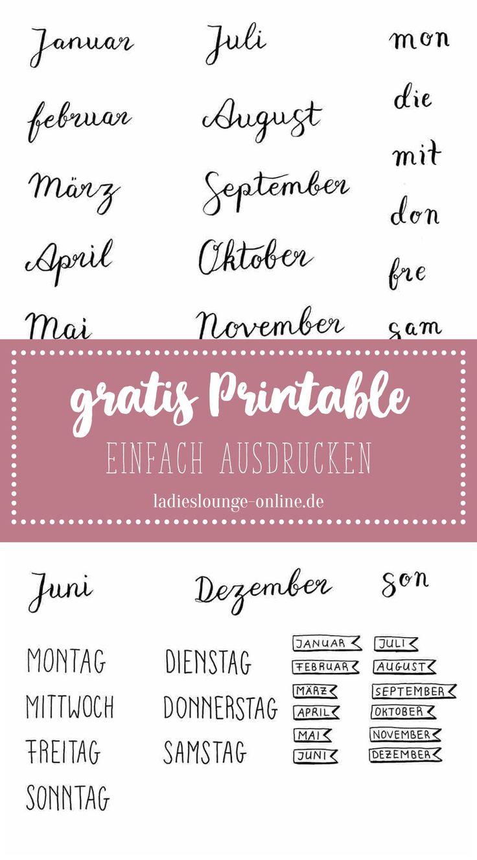 FREE PRINTABLE Gratis handmade Vorlage für Monate…
