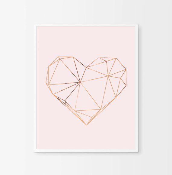 Geometric Heart Created With Real Copper Foil Each Print Is Handmade In My Studio Using A Specialized With Images Copper Wall Art Home Decor Copper Copper Foil Printing