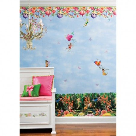 Fairies Lily Pads Prepasted Wallpaper Border