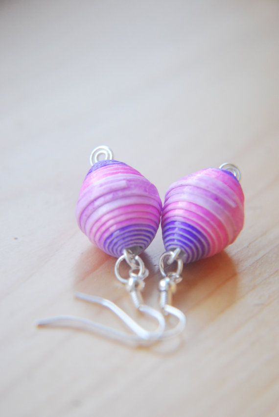 Hey, I found this really awesome Etsy listing at https://www.etsy.com/listing/195364428/pink-purple-upcycled-paper-bead-earrings