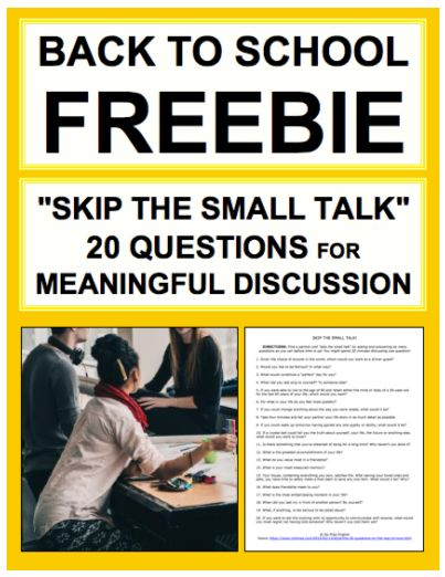 "Back to School Ice Breakers: Avoid awkward ice breaker activities on the first days of school with this print + go student handout containing 20 ""Skip the Small Talk"" Questions. Perfect back to school activities for middle school or high school students."