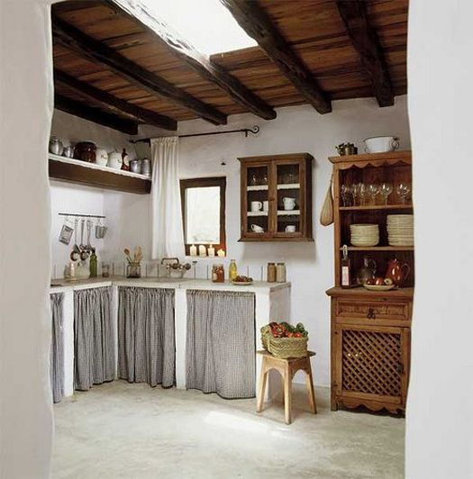 Replacing Kitchen Cabinets On A Budget: Cottage Kitchen In Spain. Curtains Are A Super Cheap