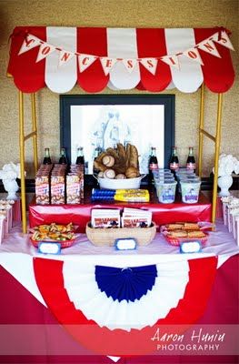 Baseball party concessions stand- thats how I should have done Owens party!