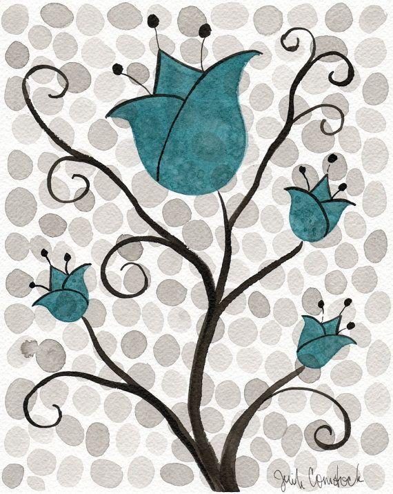 Buy 2 Get 1 FREE -- Watercolor Painting: Watercolor Flowers -- Art Print --  Aqua Polka-Dot Flowers -- Scandinavian Tulips -- 11x14 on Etsy, $35.00
