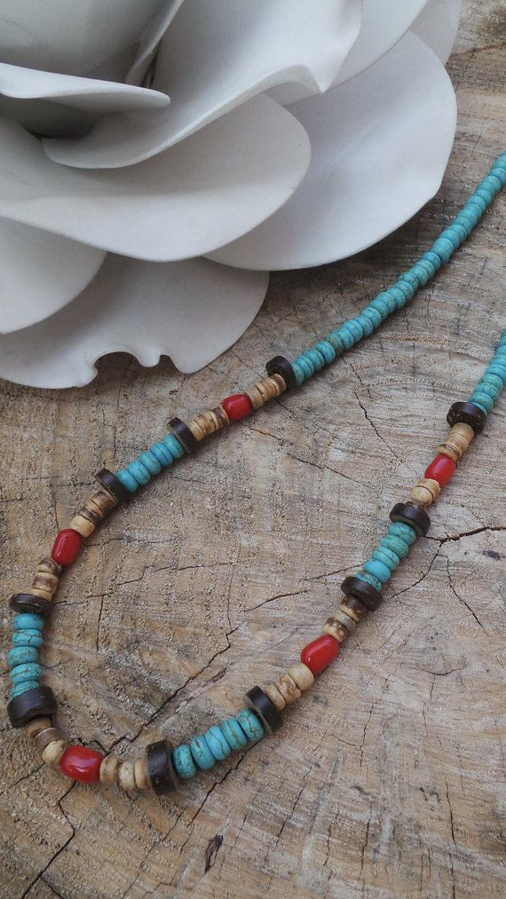 Mens beaded necklace. Surfer necklace. Mens coco shell necklace. Mens turquoise necklace. Men's surfer necklace. Bohemian men's necklace.