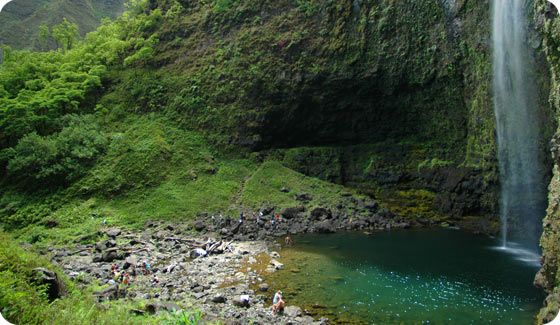 The beginning section of the Kalalau trail brings you to Hanakapi`ai beach (2 miles in) with the option to hike an additional 2 miles up Hanakapi`ai Valley to the falls.