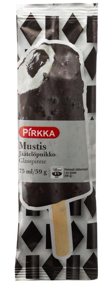 Pirkka Mustis on herkullinen ja maukas salmiakki-lakritsikuorrutteinen vaniljajäätelöpuikko, jonka sisällä on salmiakki-lakritsikastikesydän.