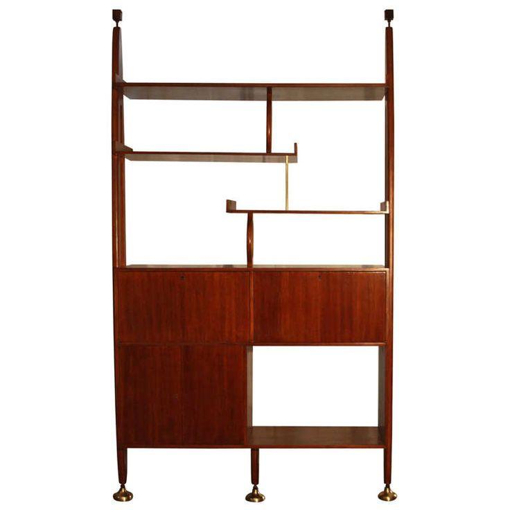 Brazilian Freijo wood wall unit/room divider Giuseppi Scapinelli, ca.1960's