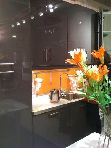 Orange Kitchen Splashback, I like this.