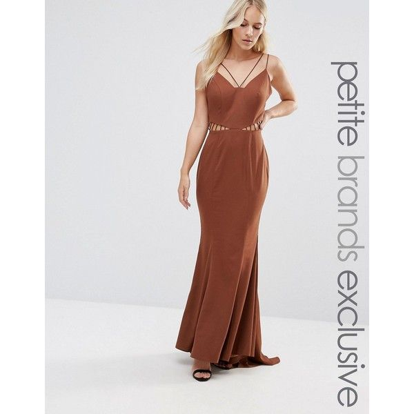 Jarlo Petite Strappy Maxi Dress With Waist Cutout Detail (105 CAD) ❤ liked on Polyvore featuring dresses, brown, petite, fishtail maxi dress, spaghetti-strap maxi dresses, petite dresses, strappy dress and brown dress