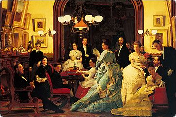 The William H. Vanderbilt Family at home (oil on canvas, 1873) pictured in the Vanderbilt house on 40th Street and Fifth Avenue (now part of The New York Public Library). Florence Vanderbilt (later Twombly), then age 19, is fifth from the left, wearing yellow.