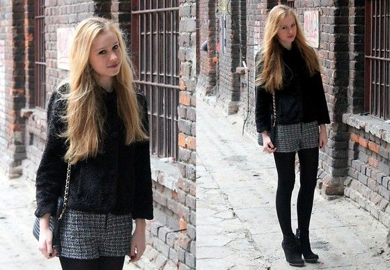 Vintage Fur, Stradivarius Shorts, Zara Boots