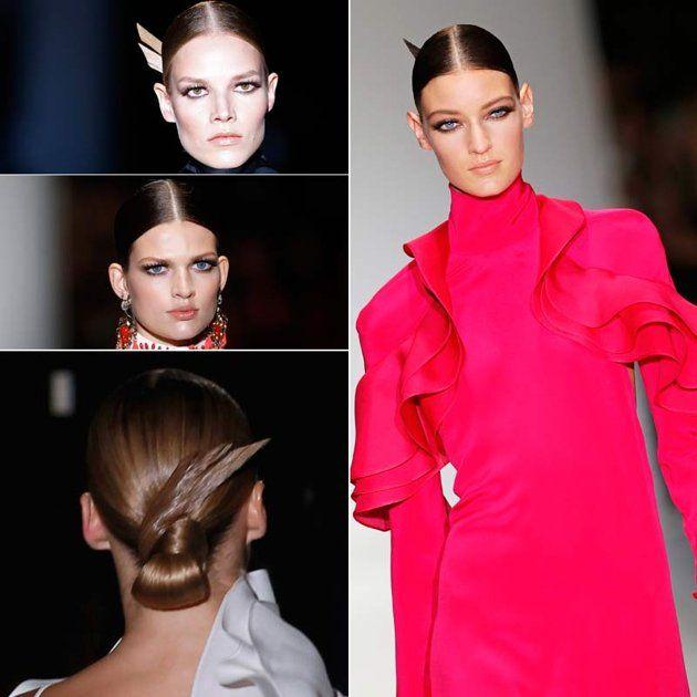 Tutti in riga!.......   Rigorosa, seria, precisa. Sulle passerelle delle fashion week ci è stata proposta la riga in mezzo. Da portare con i capelli sciolti, spostati dietro le orecchie, o in acconciature strutturate come fossero opere di design. Solo una regola: mai un capello fuori posto!