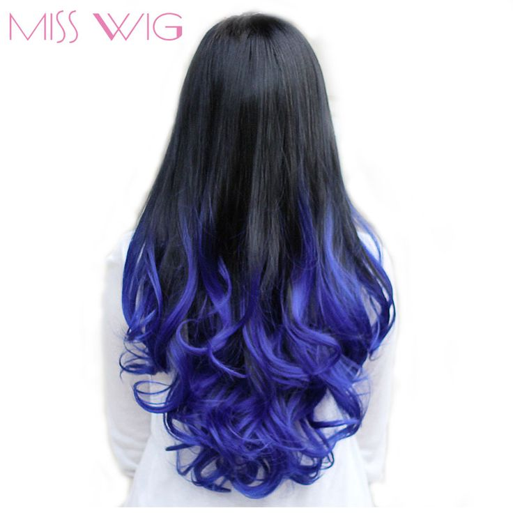 MISS WIG Long Wavy Half Wigs Blue Ombre Purple Brown Red 7 Color Available Synthetic None Lace Wigs For Women #Affiliate